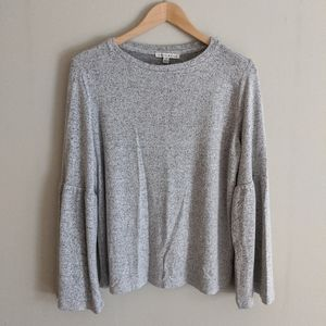 Soft grey crewneck long sleeve top w/ bell sleeves